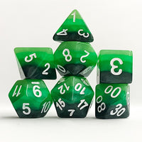 Green Gradient Dice - 7 Polyhedral Set (Polyresin)