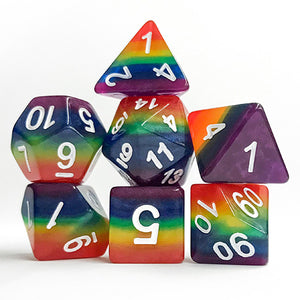 Rainbow Striped Dice - 7 Polyhedral Set (Polyresin)
