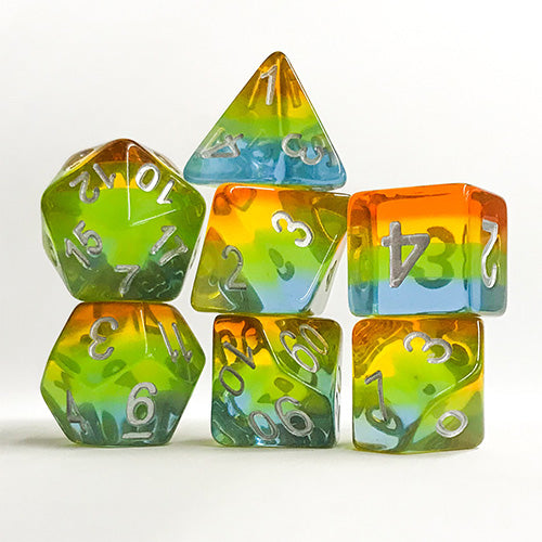 Yellow Aurora Striped Dice - 7 Polyhedral Set