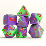 Jokester Green/Purple Swirl Dice - 7 Polyhedral (Acrylic)