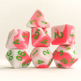 Bubblegum Taffy Pink and White Dice - 7 Polyhedral (Acrylic)