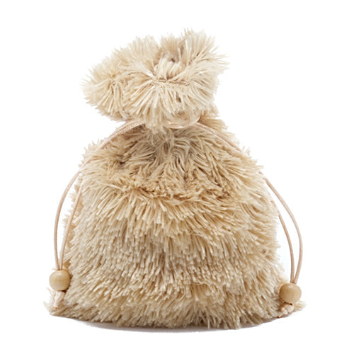Beige Extra Fuzzy Faux Fur Dice Bag