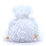 White Extra Fuzzy Faux Fur Dice Bag