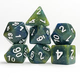 Summer's Night Blue and Yellow Glitter Dice - 7 Polyhedral (Resin)