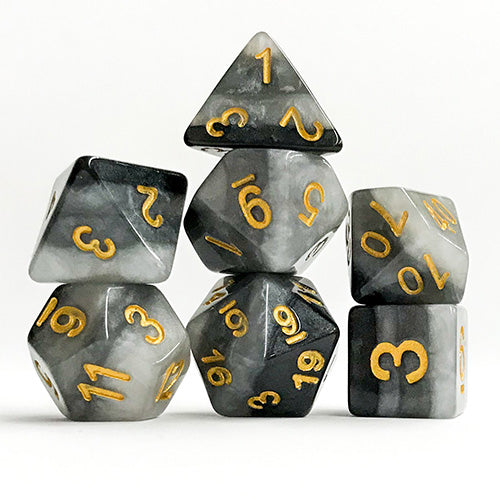 Gray Gradient Dice with Gold Numbers - 7 Polyhedral Set (Polyresin)