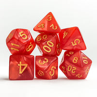 Red Pearl Dice with Golden Numbers - 7 Polyhedral Set (Acrylic)
