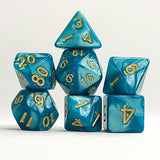 Golden Peacock - Lake Blue Dice - 7 Polyhedral Set (Acrylic)