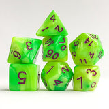 Toxic Waste Swirl Dice - Yellow and Green - 7 Polyhedral Set (Acrylic)