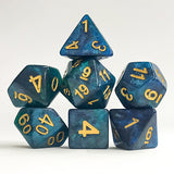 Night Sky Shimmer Dice - Blue and Green Galaxy Glitter - 7 Polyhedral Set (Resin)