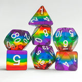 Translucent Rainbow Stripe Dice - 7 Polyhedral Set (Resin)