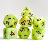 Lime Quartz - 7 Polyhedral Set (Polyresin)