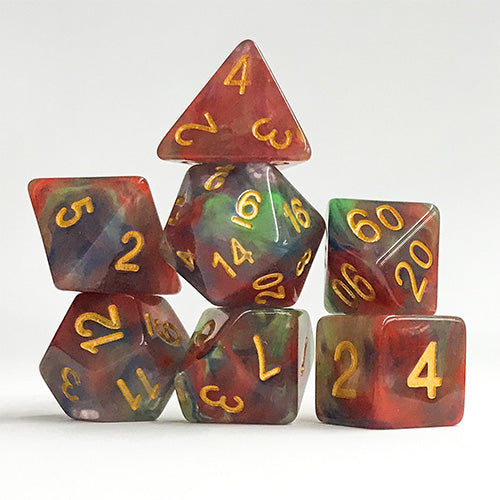 Paintcup Swirl - 7 Polyhedral Set (Polyresin)