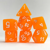 Tangerine Sparkle Dice - Orange Glitter - 7 Polyhedral Set (Resin)