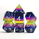 Neon Sunrise Dice - Navy, Blue, Purple, and Yellow Striped - 7 Polyhedral Set (Resin)