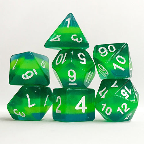 Not-Quite Malachite - 7 Polyhedral Set (Polyresin)