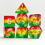 Bear-y Delight Dice - Red, Yellow, & Green Layers - 7 Polyhedral Set