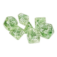 Green Glitter Dice - 7 Polyhedral Set (Acrylic)