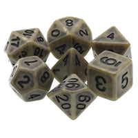 Olive Drab Antiqued Dice - 7 Polyhedral Set (Resin)