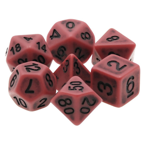 Red Antiqued Dice - 7 Polyhedral Set (Resin)