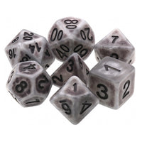 Gray Antiqued Dice - 7 Polyhedral Set (Resin)