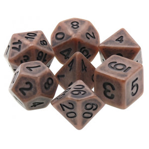 Old Boots Brown Antiqued Dice - 7 Polyhedral Set (Resin)