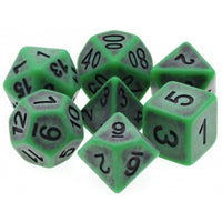 Green Antiqued Dice - 7 Polyhedral Set (Resin)
