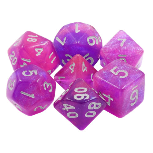 Royal Aurora Dice - Pink & Purple Glittery Blend - 7 Polyhedral Set (Resin)