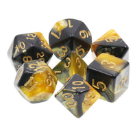 Black and Gold Swirl Dice - 7 Polyhedral Set (Acrylic)
