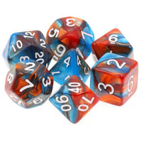 Fire & Ice - Red and Blue Swirl Dice - 7 Polyhedral Set (Acrylic)