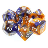 Blue/Gold Swirl Dice - 7 Polyhedral Set (Acrylic)