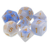 Cloud Swirl Blue and White Dice - 7 Polyhedral Set (Acrylic)