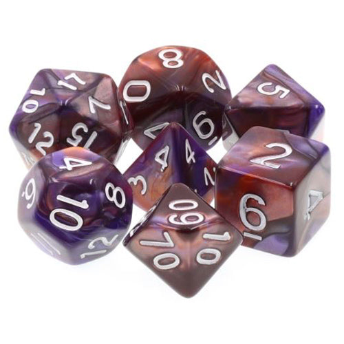 Purple/Copper Swirl Dice - 7 Polyhedral Set (Acrylic)