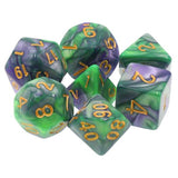 Purple/Green Swirl Dice - 7 Polyhedral Set (Acrylic)