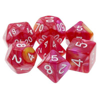 Red/Rose Swirl Dice - 7 Polyhedral Set (Acrylic)