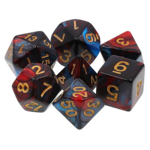 Midnight Red Dice - 7 Polyhedral Set (Acrylic)