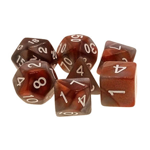 Copper/Steel Swirl Dice - 7 Polyhedral Set (Acrylic)