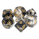 Black Space Dice with Gold Paint - 7 Polyhedral Set (Acrylic)