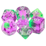 Violet Evergreen Dice - Purple & Green Translucent - 7 Polyhedral Set