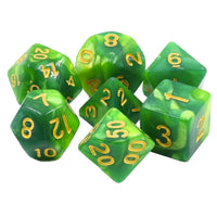 Light and Dark Green Blend Dice - 7 Polyhedral Set (Acrylic)