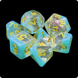 Blue Snowglobe Dice - Iridescent Glitter & Blue Layer - 7 Polyhedral Set (Resin)