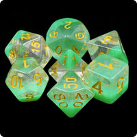 Spring Dew Dice - Iridescent Glitter and Green Layer - 7 Polyhedral Set (Resin)