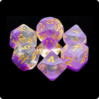 Violet Sunset Dice - Purple Layer with Glitter - 7 Polyhedral Set (Resin)