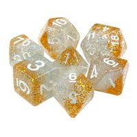 Christmas Garland Dice - Gold and Silver Glitter - 7 Polyhedral Set (Resin)