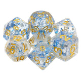 Metallic Sapphire Flecks Dice - 7 Polyhedral Set (Resin)