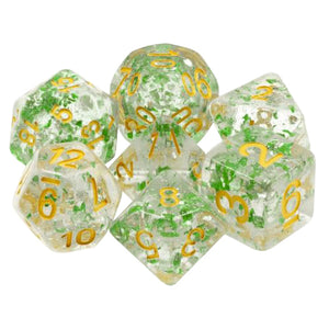 Metallic Emerald Flecks Dice - 7 Polyhedral Set (Resin)