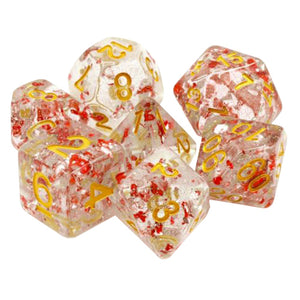 Metallic Ruby Flecks Dice - 7 Polyhedral Set (Resin)