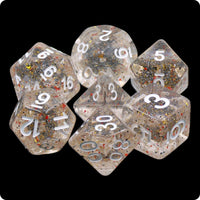 Little Stars Dice - Multi-color Flecks in Clear Base - 7 Polyhedral Set (Resin)