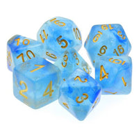 Tropical Sea Sparkle Dice - Blue Swirls & Glitter - 7 Polyhedral Set