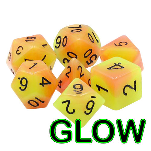 Autumn Sunrise Dice - Glow-in-the-Dark - 7 Polyhedral Set