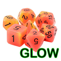 Campfire Glow Dice - Glow-in-the-Dark  - 7 Polyhedral Set